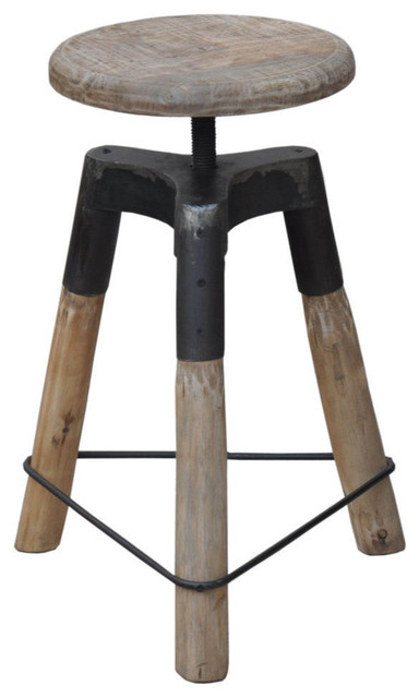 3 Leg Farmhouse Iron And Wood Bar Stool Stools Counter By Nach