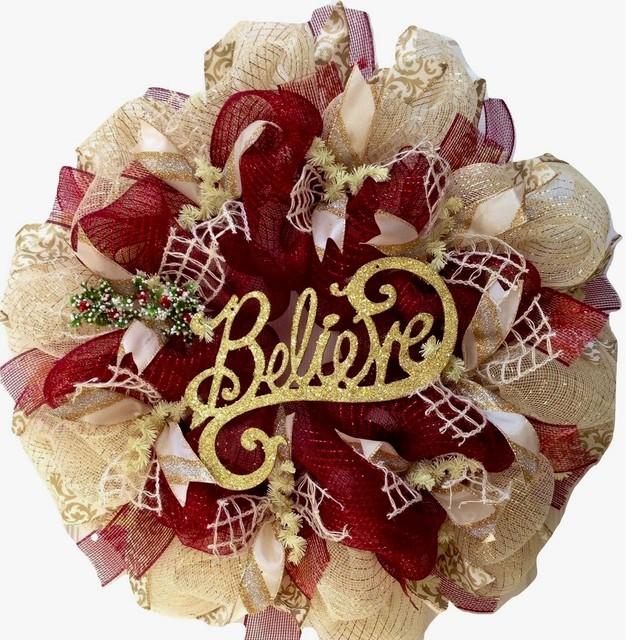 Believe Inspirational Holiday Wreath Handmade Deco Mesh.