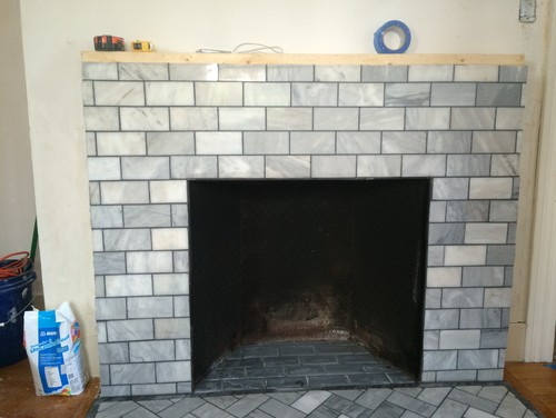"""Fireproof Rugs For Hearth Marble fireplace 3x6 subway surface. 1"""" hearth marble ..."""