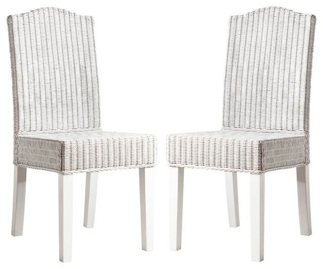 Odette Wicker Dining Chair Set Of 2 Beach Style