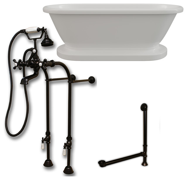 Acrylic Double Ended Pedestal Bathtub 60x30 No Drillings BRZ Package by Cambridge Plumbing