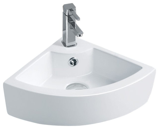 Small Corner Above Counter Vessel Sink White Contemporary Bathroom Sinks By Renovator 39 S