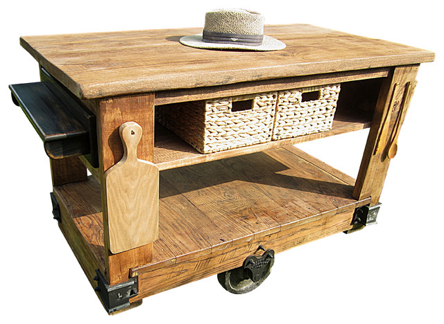 Rustic Kitchen Island Cart With Butcher Block Top, Brown