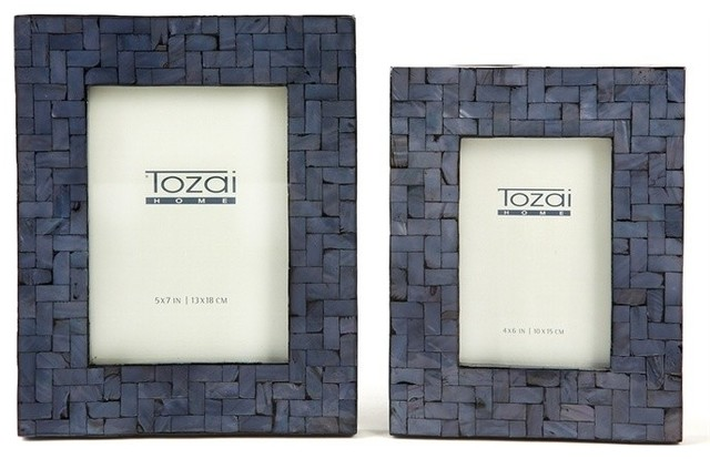 Tozai Midnight Blue Shimmering Photo Frames With Herringbone Pattern ...
