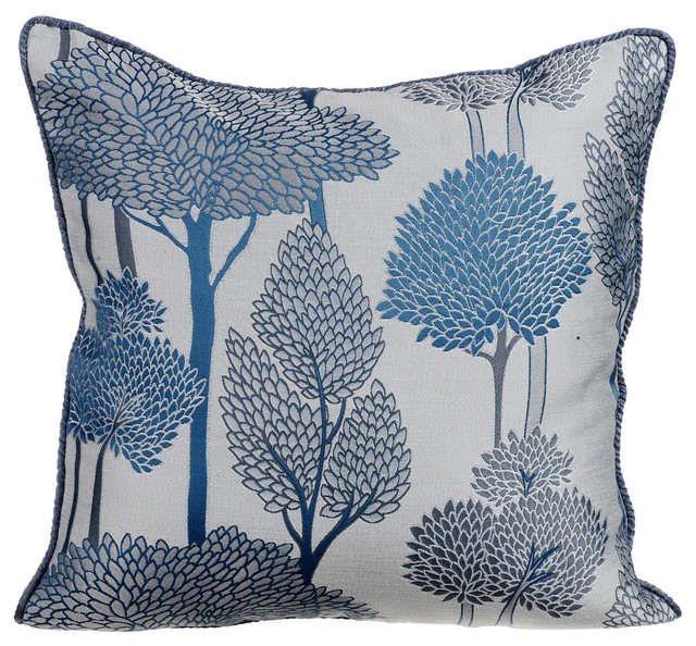 """Jaquard Weave 18""""x18"""" Jacquard Blue Throw Pillows Cover, Night Trees"""
