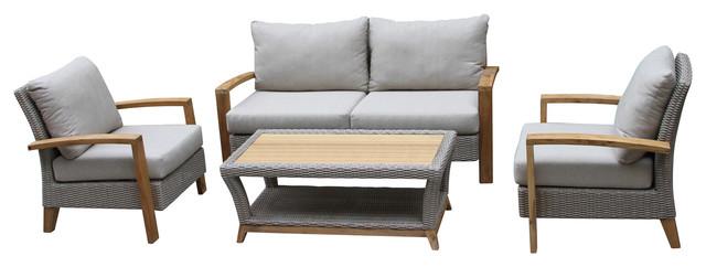 Harbor 4-Piece Teak and Wicker Seating Set