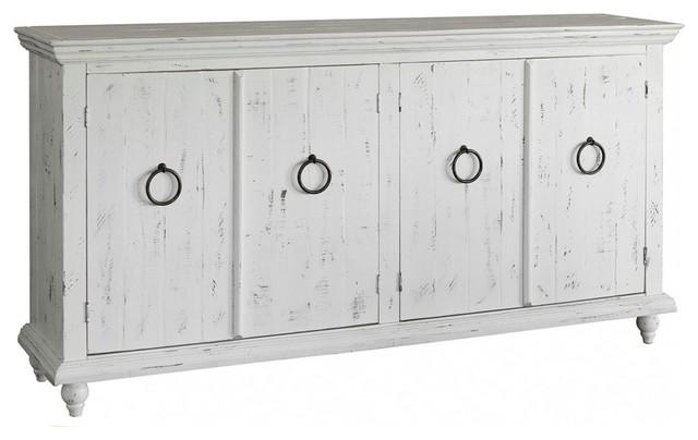 Macao Rustic Modern Solid Wood 4-Door Sideboard, White.
