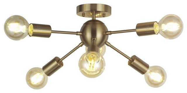 6-Lights Brass Modern Ceiling Light Gold Mid Century Pendant.