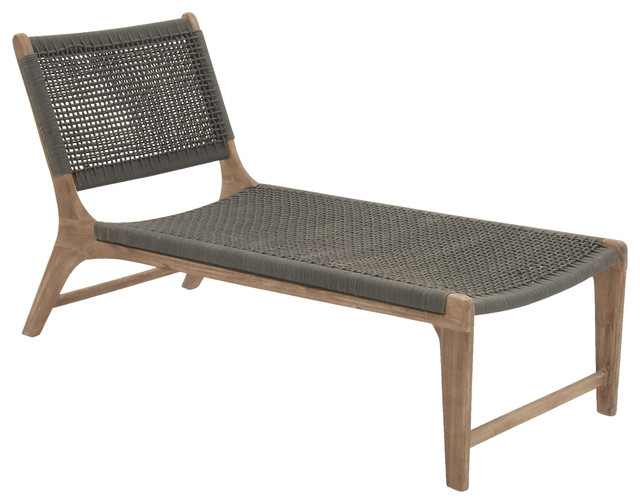 durable wood rope outdoor lounge chair