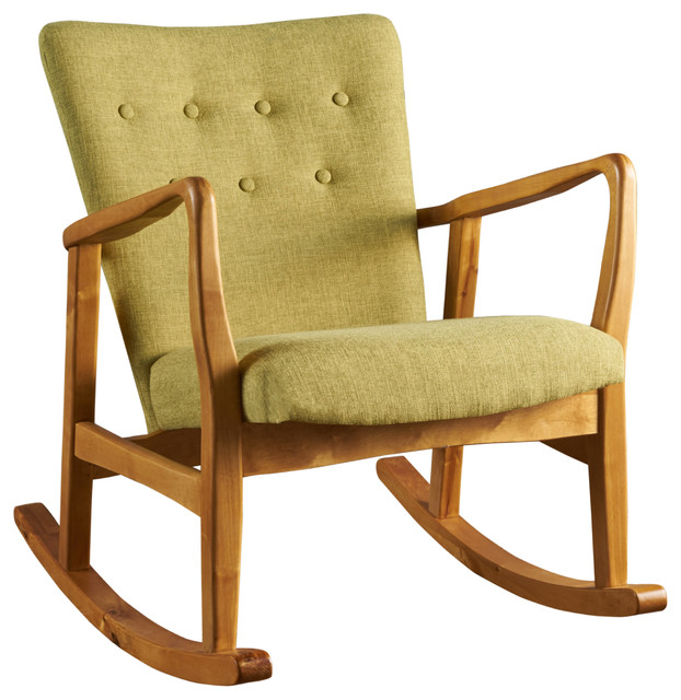 Connor Mid Century Muted Green Fabric Rocking Chair