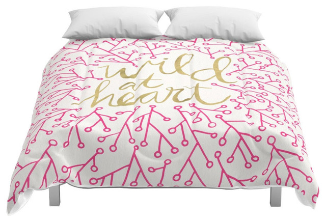 Society6 Wild At Heart Pink And Gold Comforter Contemporary