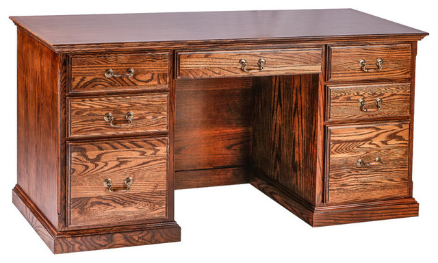 Traditional Oak Writing Desk With Double Pedestal Traditional