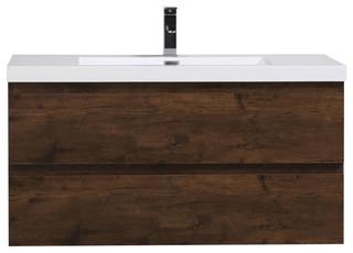 """Bodhi Wall-Mount Vanity With Acrylic Sink, 42"""", Rosewood"""