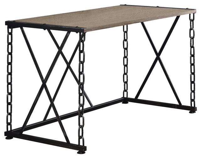 Acme Jodie Desk Rustic Oak And Antique Black Industrial
