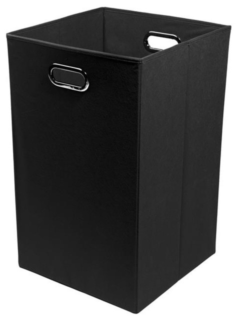Smarty Pants Solid Black Folding Laundry Basket.