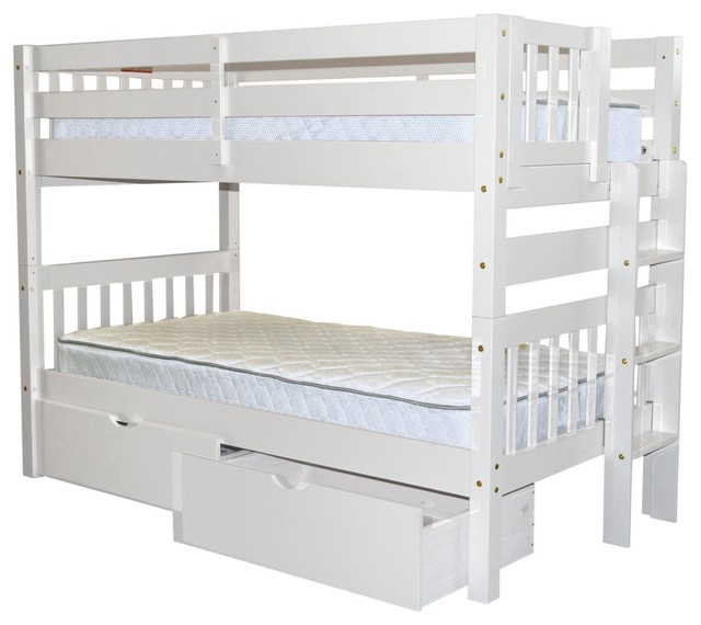Bedz King Bunk Beds Twin Over Twin, End Ladder And 2 Bed Drawers, White.
