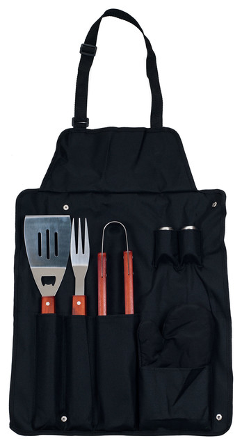 7-Piece Bbq Black Apron And Utensil Set By Chef Buddy.