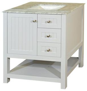 Bellaterra Home 29 Inch Single Sink Vanity-Wood-White Cabinet Only - Bathroom Vanities And Sink ...