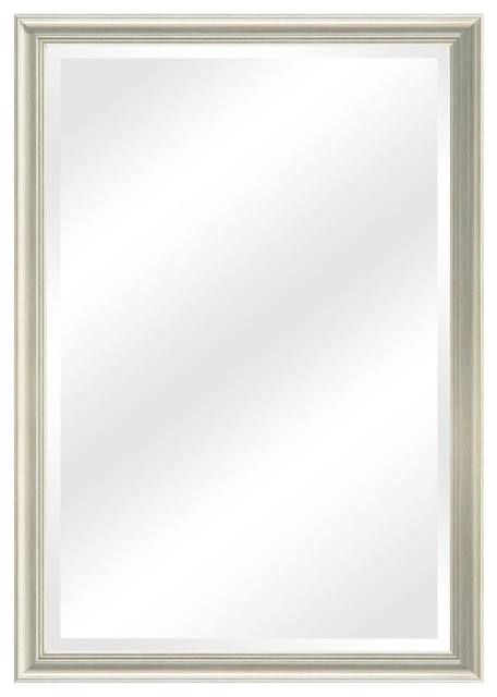 Glacis Transitional Bathroom Mirror With Frame, Champagne Silver