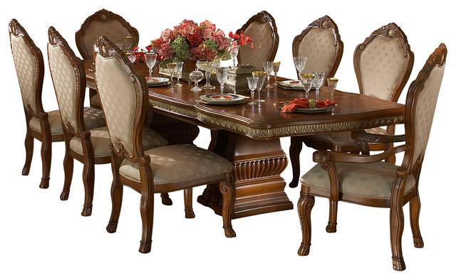 7 Piece Cortina Rectangular Dining Room Set, Honey Walnut Victorian Dining  Sets