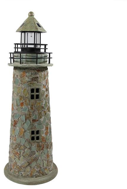 Cobblestone Solar Led Lighthouse 35 Quot Beach Style Path