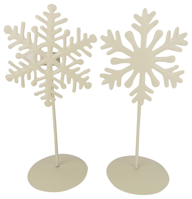 Tin Snowflakes On Stands, Off White, Set Of 2.