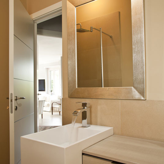 Custom golden silver framed bathroom mirror contemporary for Large silver modern mirror