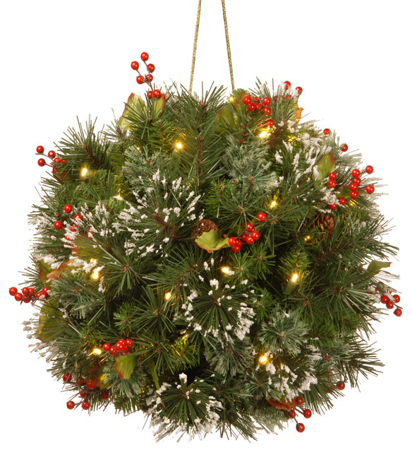 """Wintry Pine Kissing Ball, 12""""."""