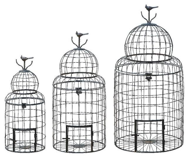 Set of Three Black Metal Wire Bird Cages Bird Patio Garden Decor - Set Of Three Black Metal Wire Bird Cages Bird Patio Garden Decor