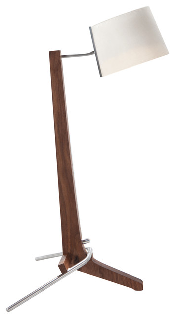 Silva Led Table Lamp, Wood: Oiled Walnut, Shade: White Linen.