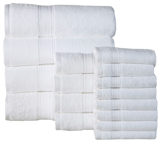 Luxurious Soft Cotton 16-Piece 600 Gsm Luxury Towel Set, White.