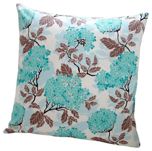 Modern Floral Pillows : Indoor Birch Farm Hydrangea Eggblue Modern Floral Accent 20x20 Throw Pillow - Contemporary ...