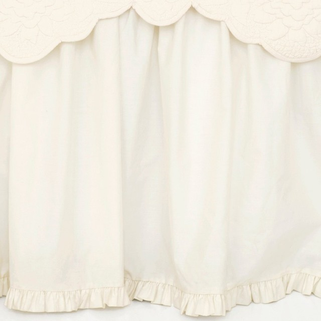Classic Ruffle Bed Skirt, King, Ivory contemporary-bedskirts