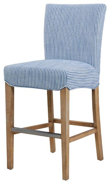 Super Milton Fabric Counter Stool Natural Wood Legs Blue Stripes Uwap Interior Chair Design Uwaporg