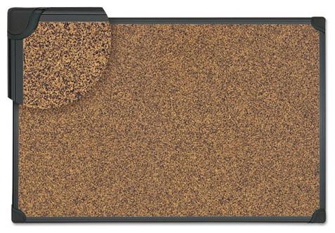 """Tech Cork Board, 48""""x36"""", Cork, Black Frame"""