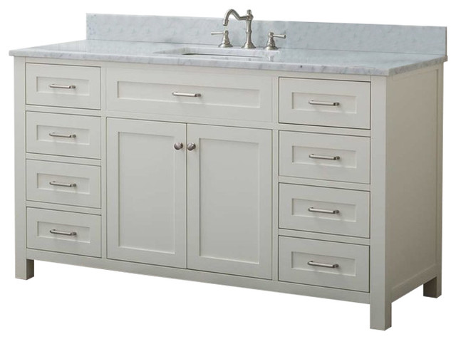 "Cabinet Mania White Shaker 60"" Bathroom Vanity 8 Drawers 1 Sink With Marble Top."