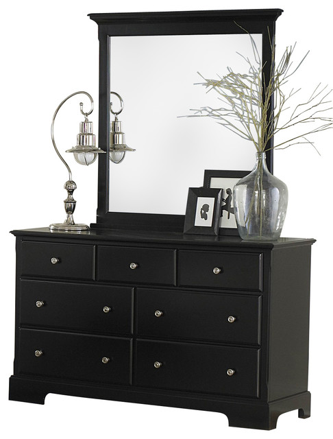 black dresser with mirror Homelegance Morelle Dresser with Mirror in Black   Traditional  black dresser with mirror