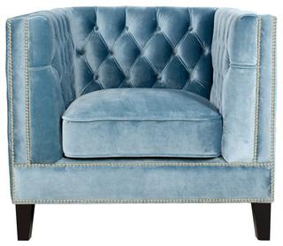 Pasargad Victoria Collection Velvet Armchair, Blue Gray