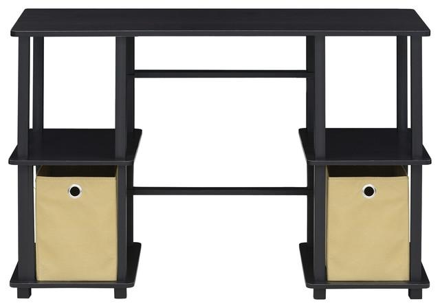 Furinno Turn-N-Tube Computer Desk With Storage Bins, Espresso/black 17072ex/bk.