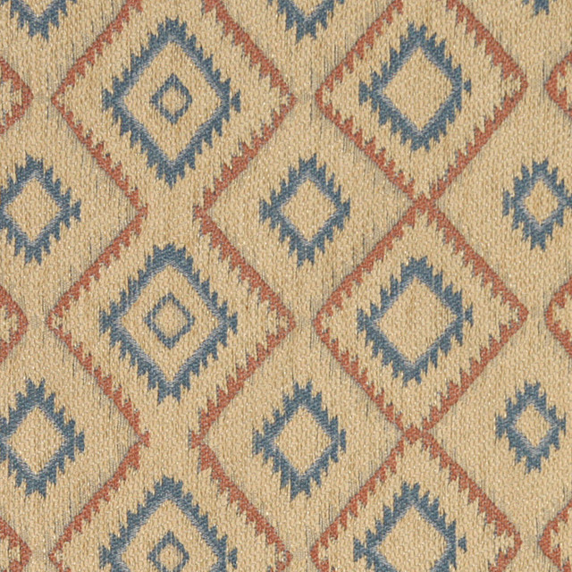 Beige, Salmon and Blue, Diamond Southwest Style Upholstery Fabric By The Yard