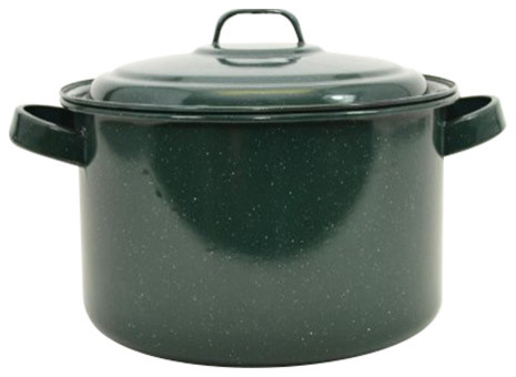 Enamelware Stock Pot With Lid, Hunter Green With White Specks.