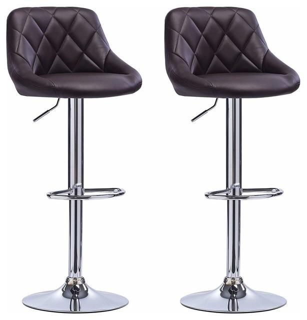 2 Bar Stools Set, Faux Leather With Backrest, Adjustable Swivel Gas Lift, Black