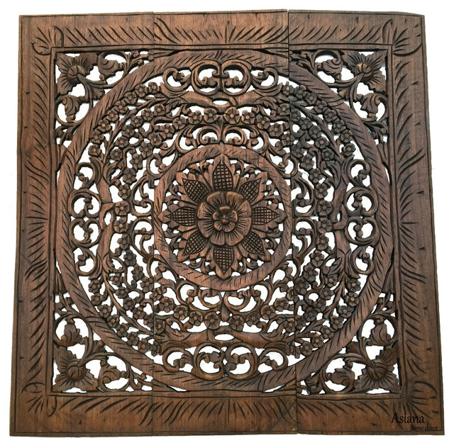 Elegant Floral Wood Carved Wall Decor Panel. Asian Home Decor Wall ...