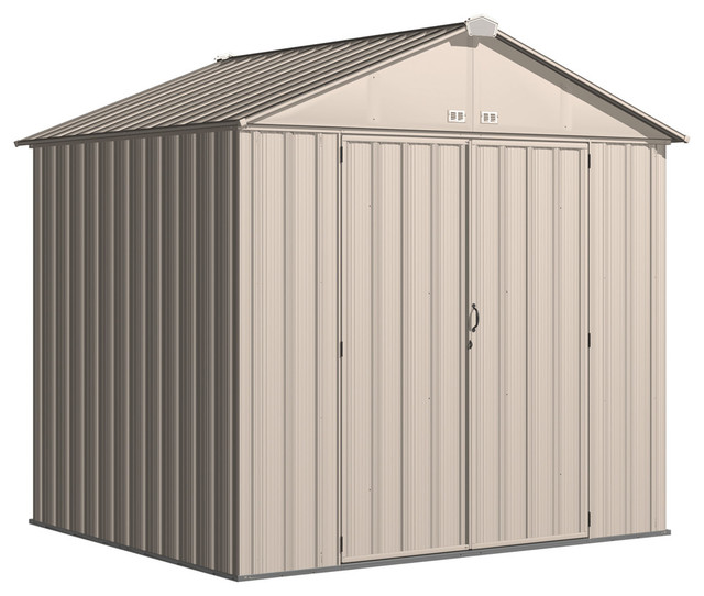 "Ezee Shed, 8&x27;x7&x27;, High Gable, 72"" Walls, Vents, Cream And Charcoal."