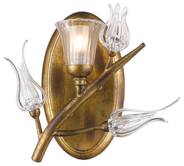 Aiyana 1-Light Bathroom Vanity Light, Gold Leaf - Traditional ...