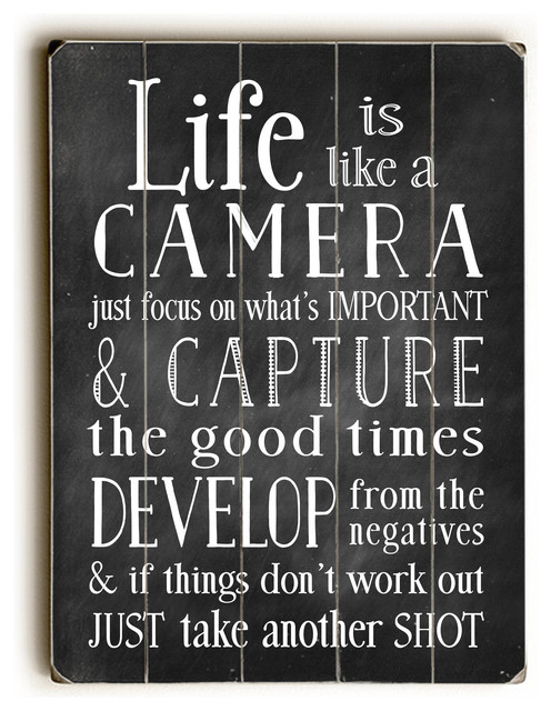 """Life is Like A Camera"" Wooden Sign contemporary-novelty-signs"