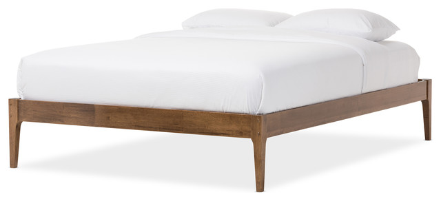 bentley midcentury modern solid wood bed frame walnut brown queen midcentury bed