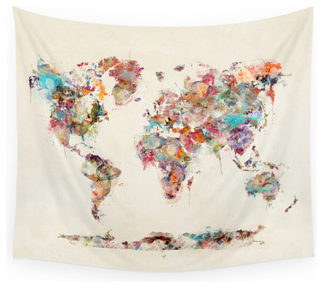 World Map Watercolor Deux Wall Hanging Tapestry - Medium: 68  x 80