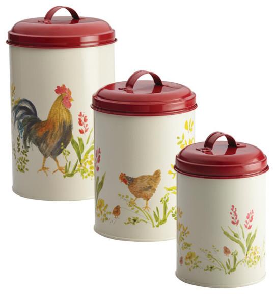 Pantryware Food Storage 3-Piece Canister Set - Farmhouse - Kitchen ...