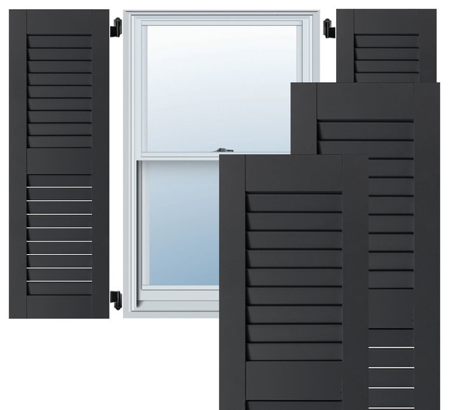 "15"" X 39"" Exterior Western Red Cedar Open Louvered Shutters, Black."